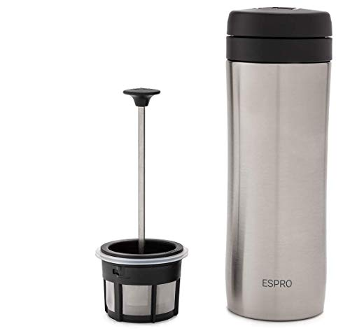 ESPRO P1 Double Walled Stainless Steel Vacuum Insulated Travel Coffee French Press, 12 Ounce, Brushed Stainless Steel