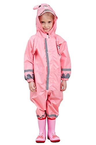 TURMIN 3D Kinder Regenmantel mit PVC Hutkrempe, Mädchen Jungen Wasserdicht Regenanzug mit Reflektierenden Streifen All in One Kleinkind Baby Regenjacke Regenbekleidung Regen Poncho-Rosa-M