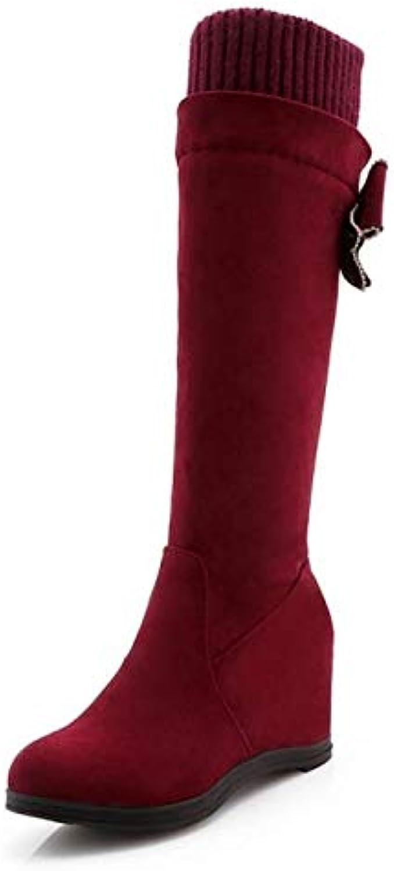 HAOLIEQUAN Klassische Frauen Keile Stiefel Dicke Warme Schuhe Frauen Winter Innerhalb Ferse Bowknot Stiefel Kristall Schuhe Größe 34-43  | Exquisite Verarbeitung