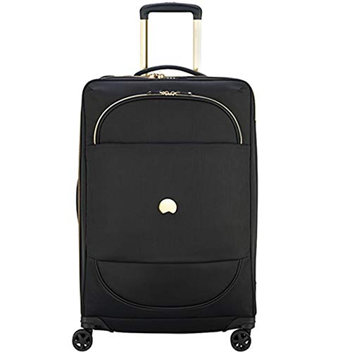 DELSEY Paris Montrouge Softside Expandable Luggage with Spinner Wheels, Black, Carry-On 21 Inch