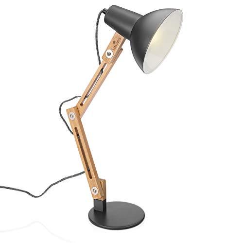 Navaris Design Holz Schreibtischlampe - E27 Fassung - mit Standfuß - Retro Tischlampe mit verstellbarem Gelenkarm - Vintage Nachttischlampe Dunkelgrau