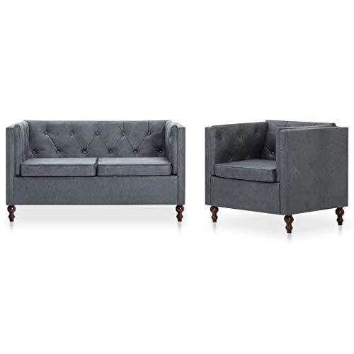 Festnight- Chesterfield Sofa 2-TLG. Sofagarnitur für 3 Personen Inkl 1 x Sessel und 1 x 2-Sitzer Sofa, Stoff Grau, Sitzgruppe Lounge Couch Polstersofa
