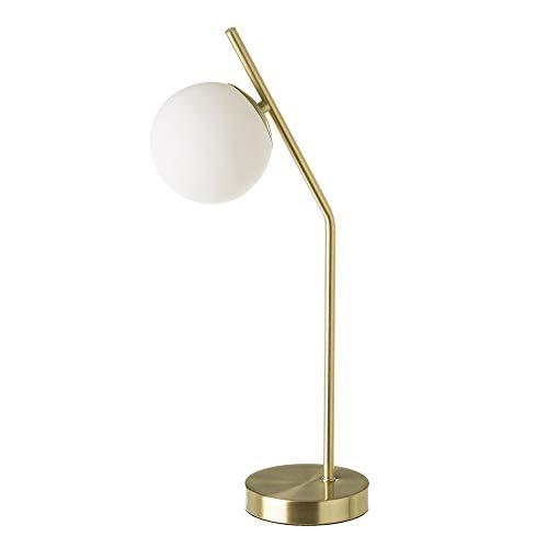 Lámpara de mesa con tulipa de bola vintage de metal y cristal dorada, de ø 22x13x50 cm - LOLAhome