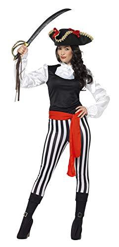 Smiffy's - Dames Piraten Lady kostuum, bovendeel, broek met aangebrachte laarzen overtrekkers, halsroos en riem, zwart