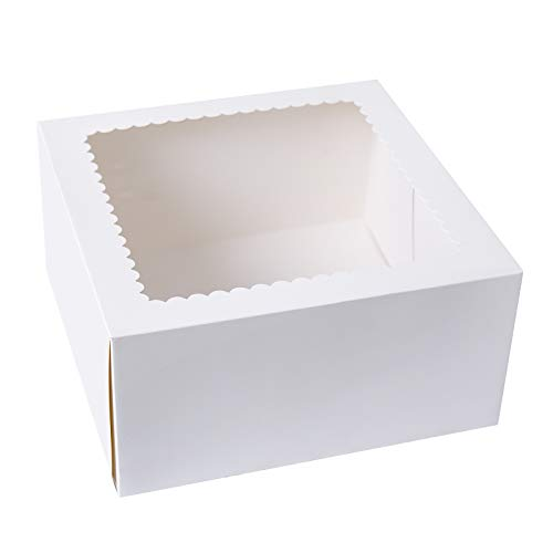 [15PCS]CHERRY White Cake Boxes 8 X 8 X 4 inch,Kraft Paperboard Bakery Pie Box with Auto-Popup Window (Pack of 15)