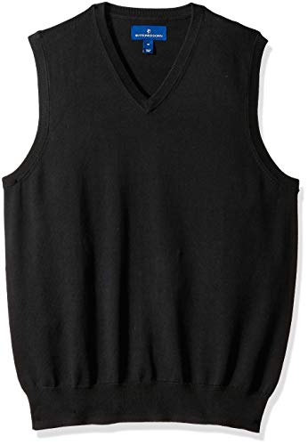 BUTTONED DOWN Men's Supima Cotton Lightweight Sweater Vest, black, Small