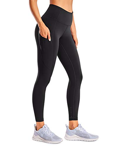 CRZ YOGA Women's Naked Feeling High Waist Tummy Control Stretchy Sport Running Leggings with Out Pocket-25 Inches Black Medium from