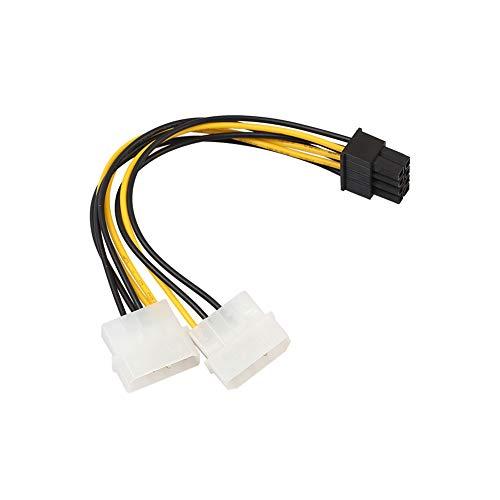 daffodilblob Cable de alimentación para tarjeta de gráficos, 18 cm, 8 pines (6+2) PCIE a conector dual Molex para tarjeta gráfica.