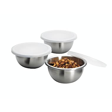 Anchor Hocking Stainless Steel Nesting Pinch Bowls with Lids, 4 Ounce, 6-Piece Set
