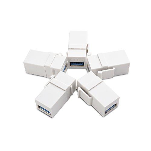 Cable Matters 5-Pack USB 3.0 Keystone Jack Inserts Gender Changer