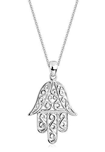 Elli Dames sieraden halsketting ketting met hanger Hamsa Hand Fatima Spirituel Evil Eye zilver 925 lengte 45 cm