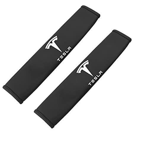 SUKLIER 2 Uds Almohadillas para CinturóN De Seguridad De Coche para Tesla Model 3 S X, Almohadilla para CinturóN De Hombro, Funda De CojíN, Protector De CinturóN De Seguridad para Coche