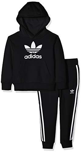adidas Kinder Trefoil Hoodie Sweatshirt, top:Black/White Bottom:Black/White, 7-8Y