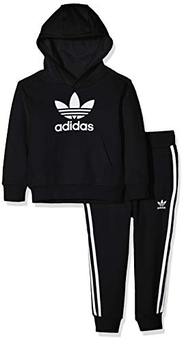 adidas Kinder Trefoil Hoodie Sweatshirt, top:Black/White Bottom:Black/White, 6-7Y