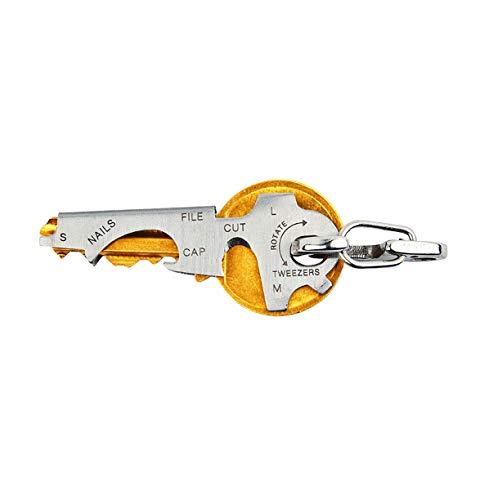 Ulable 8-in-1-Multifunktions-Schlüsselbund aus Edelstahl, tragbare Geräte, Schlüsselclip mit Flaschenöffner, drei Größen Schraubendreher, Nagelfeile und Pinzette, Silber