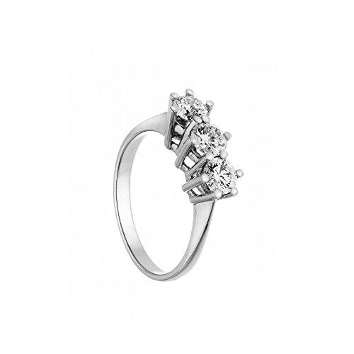 anello trilogy in oro bianco 18 kt diamanti 0,135 taglio brillante colore g taglio eccellent misura 15