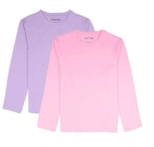 JIAHONG Kids Unisex Soft Cotton Plain T Shirts Long Sleeve Crewneck T-Shirt for Boys or Girls 3-12 Years (Purple+Pink-XL)
