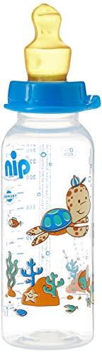 nip Standardflasche PP mit Trinksauger Anatomisch Latex, ab 6 Monate, Blau, Größe M, 250 ml, Boy