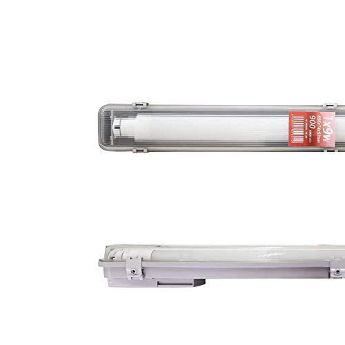 POPP® Pantalla Estanca de un tubo o dos Tubos de LED,9,22,36,44 Watios IP65 impermeable,Prueba de polvo,PC/PC para parking interior y exterior. (9 Watios)