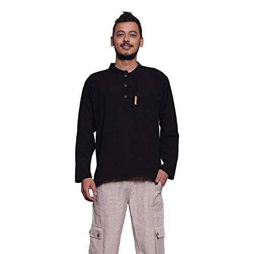 Simandra Fisherman Hemd Herren S-XXL versch. Farben   Langarmhemd aus Baumwolle   Fischerhemd im Kurta-Stil mit Stehkragen + Brusttasche + Holzknöpfe & Schlaufen + Seitenschlitze
