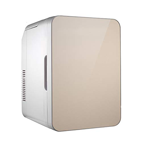 10 litros Portátil Refrigeradores Compactos,Termoeléctrica Ca Potencia De CC,Mini-Nevera Más Caliente Más Fresco,para Dormitorio,Coche,Dormitorio,Oficina Dorado