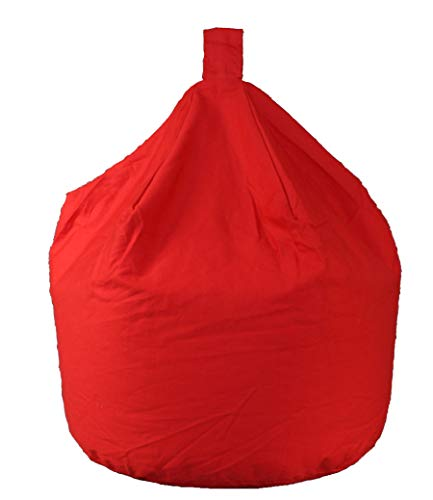 Better Dreams Adult Bean Bags Red 100% Cotton Fire Retardant Large Bean Bags 60cm Wide x 82cm High Approx 6 Cubic Foot