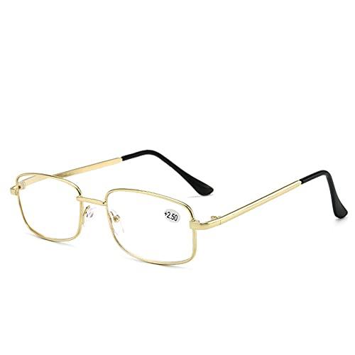 LGQ Gafas de Lectura con Montura metálica para Hombre, Gafas ópticas HD con luz Anti-Azul, Gafas con Lente de Resina,+1.50