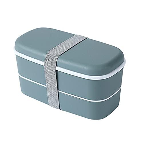 BMBN Bento Box, Bento Lunch Box Recipiente con Palillos Almacenamiento de Alimentos para Adultos Niños Cajas Bento de Doble Capa Apto para microondas Gris Oscuro