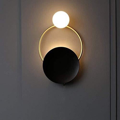 YANQING duurzame Scandinavische moderne wandlamp woonkamer lamp eetkamer slaapkamer nachtlampje eenvoudige creatieve bar ronde beugel licht zwart verlichten uw leven