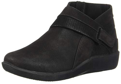Clarks Women's Sillian Rani Ankle Boot, Black Synthetic, 7.5 M US