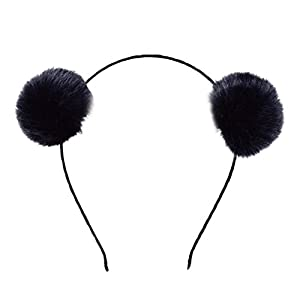 BUYITNOW Fluffy Rabbit Fur Ball Hairband Cosplay Panda Ears Headband