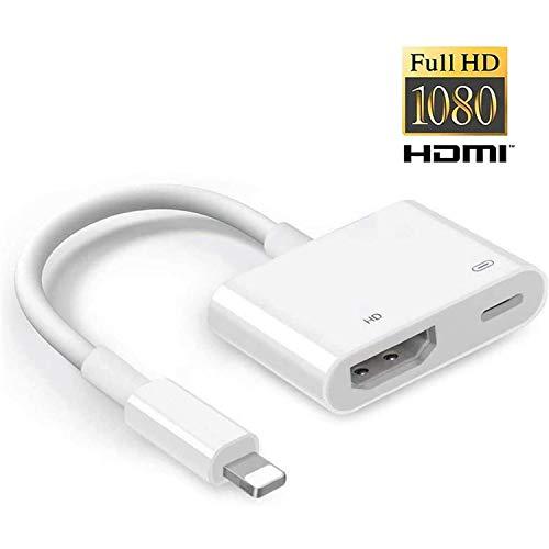 Hoidokly Adattatore Phone HDMI, 1080P Cavo Pad HDMI AV Digitale Adattatore Compatibile con Phone SE 2020/11 Pro/11 PRO Max/XS/XS Max/XR/X/8/8 Plus/7/7S/6S Plus/5, Pad Air/Mini/PRO - Fino a iOS 13.3.1