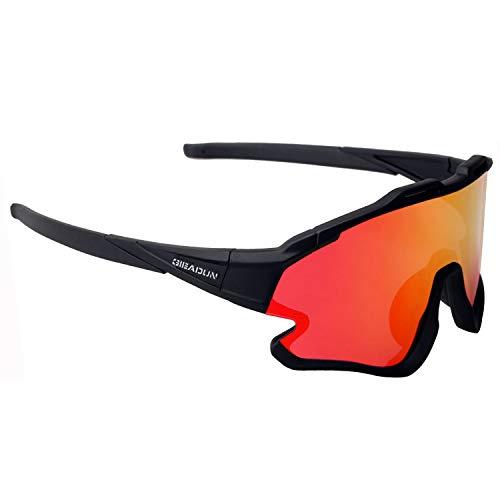 GIEADUN Gafas Ciclismo Polarizadas con 3 Lentes Intercambiables UV 400 Gafas,Corriendo,Moto MTB Bicicleta Montaña,Camping y Actividades al Aire Libre para Hombres y Mujeres TR-90 (Negro)