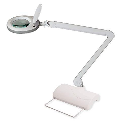 Lumeno LED Lupenleuchte Lupenlampe Arbeitsplatzlampe Kosmetiklampe für Kosmetik Praxen Bastler Lesehilfe Vergrößerungslampe Lupe in 3, 5 oder 8 Dioptrien Grau 5 mit Tischstativ