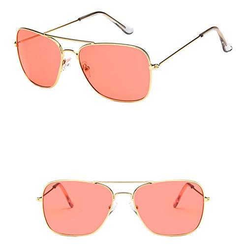 YIERJIU Gafas de Sol Gafas de Sol cuadradas clásicas Hombres Mujeres Gafas de piloto Gafas oculos Gafas de Sol de Marca de diseñador de Color Gafas uv400,Rosa