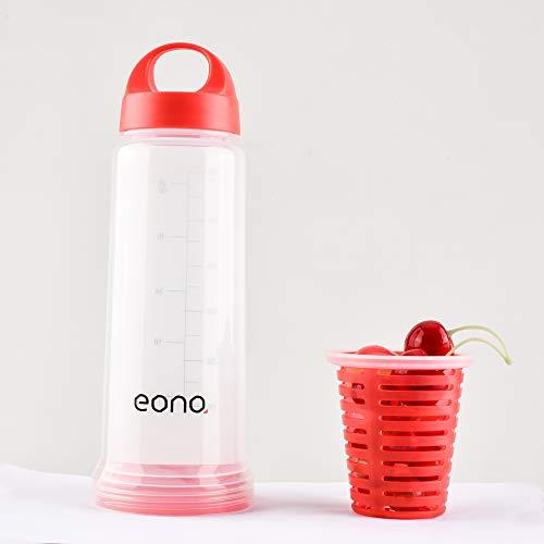 EONO Infuser Fruit Waterfles met handvat, BPA Gratis Herbruikbare Plastic Waterfles met Fruit Infusion Insert Sport Waterfles 24OZ 700ml (Rood)