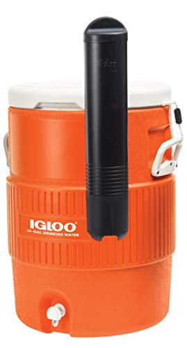 Igloo 10 Gallon Seat Top Water Jug With Cup Dispenser , Orange/White