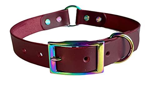 KLASSY K9 BURGUNDY SEDGWICK - Collar de piel para perro (48,2 - 58,4 cm, con accesorios para arcos de lluvia