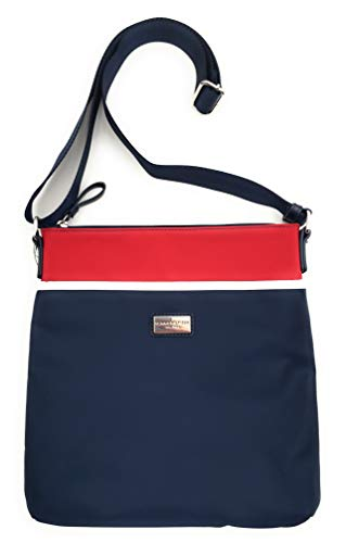 Tommy Hilfiger Nylon Crossbody Shoulder Bag with Polished Silver Tone Hardware, Red White and Blue Colorblock