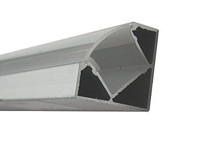 Jandei - Perfil Aluminio Tira led 2 Metros Esquina con Tapa Redondeada traslúcida 19,3x19,3mm