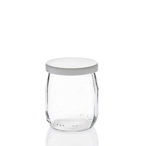 Rekean - Tarro de Yogur de Vidrio con Tapas Blancas - Lote d