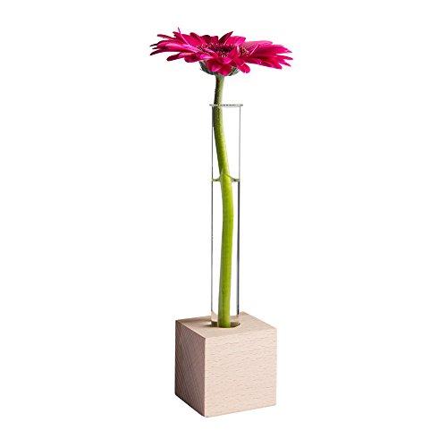 Tuuters Reagenzglas Vase aus Holz | Moderne Tischdeko ✿ Inklusive hochwertiger Reagenzgläser ✿ (Buche 1-Loch)