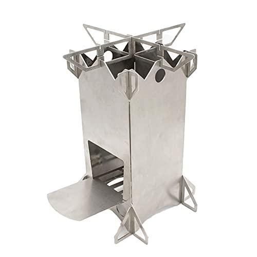 Cocina de cámping con Puerta de reja y la Bolsa de Almacenamiento, Plegable portátil de Acero Inoxidable Estufa de leña para Acampar, Mochila, Picnic y Barbacoa para 1-2 Personas -Camping Horno
