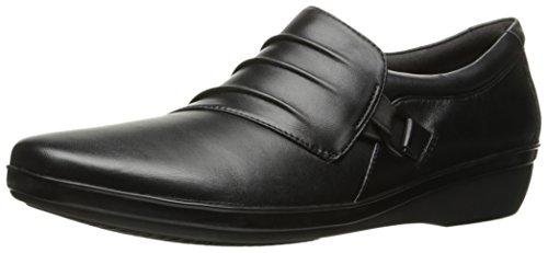 Clarks Women's Everlay Heidi Slip-On Loafer, Black Leather, 6 W US