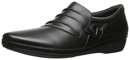 Clarks Women's Everlay Heidi Slip-On Loafer, Black Leather, 7 M US
