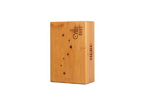 Yogi Bare Non Slip Bamboo Yoga Block - Improves Balance and Support - Latex Free - 22cm x 15cm - Bamboo