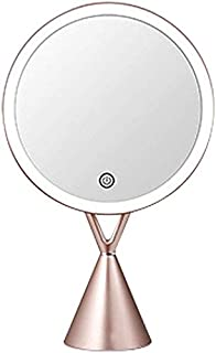 Makeup Mirror Lights 360° Swivel Beauty Mirror Touch Screen with Base USB Personal Mirrors for Desktop Bathroom Vanity Table Women Girls OO (Color : Pink) (Color : Pink)