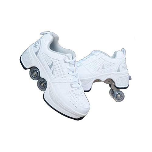 YPYGYB Shoes with Wheels for Girls/Boys,Roller Skates for Women,Kick Rollers Shoes Retractable for Kids,2 in 1 Parkour Shoes/Skating Shoes,Children's Outdoor Recreation Roller Skates,White-7