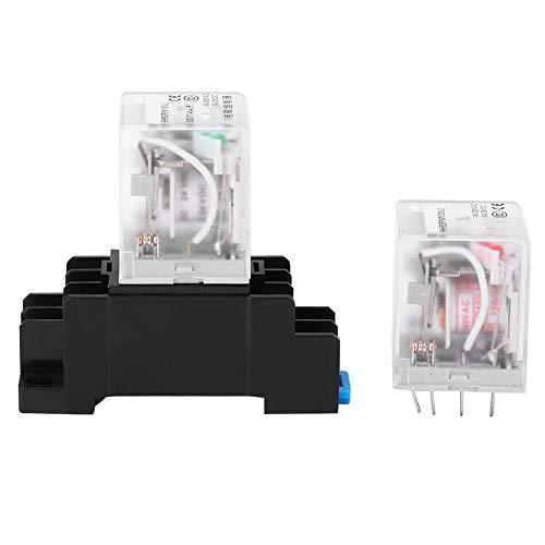 Mini relais, 2 stuks 24 VDC/220 V AC spoel, vermogensrelais met basis 8 pin 5A geschikt voor DIN-rail