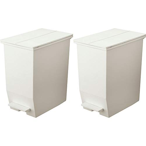 リス フタ付きゴミ箱 ソロウ ペダルオープンツイン 45L (45L 2個セット, ホワイト)